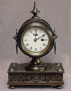 Antique ~ IRON ~ Boudoir Dresser Clock ~ c1870 ~ Porcelain Dial
