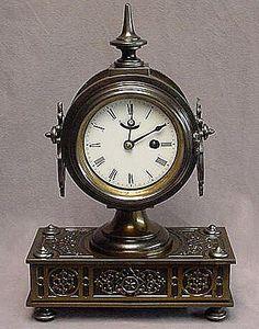 Antique ~ IRON ~ Boudoir Dresser Clock ~ c1870 ~ Porcelain Dial