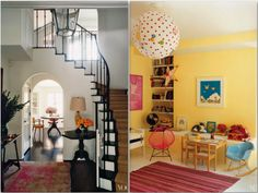 Vogue - Amanda Peet's home - deep expresso floors and cream walls with small pops of color