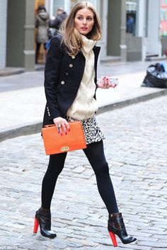 Olivia Palermo Winter Style - LOVE the pop of color from her booties & clutch. <3