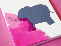 How to Make Silhouette Canvas Artwork for a Child's Bedroom : Work all the way around the silhouette always brushing away from the stencil. We went all the way to the edges and varied the shades of pink around the canvas, but let the kids be creative with how they want to paint it.  For Valerie or Alexandra, late afternoon art