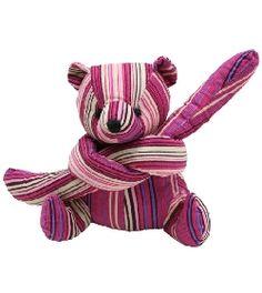 Funny ! Peluche Eurobears l'ours bayadère rose 13 cm chez doudou-Shop.com #teddy #nounours #doudou
