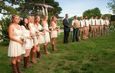 Want to have my bridesmaids in white like me and with brown boots. Guys in jeans and dress shirts