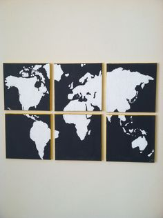 6 Panel Canvas World Map. $150.00, via Etsy. Obsessed with this one
