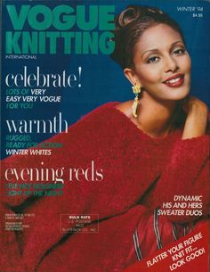 VOGUE KNITTING Winter 1994 Evening Reds Winter Whites Sweaters His Hers Patterns #VogueKnitting #Sweaters #KnittingPatterns