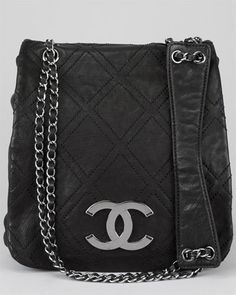 Chanel Black Quilted Leather Messenger Bag