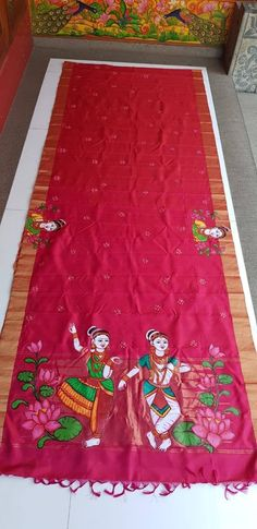 Saree Painting Designs, Fabric Paint Designs, Paint Fabric, Hand Painted Fabric, Fabric Art, Fabric Design, Print Design, Embroidery Suits Design, Creative Embroidery