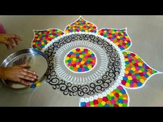 Rangoli is an art form, originating in the Indian subcontinent, in which patterns are created on the floor in living rooms or courtyards using materials such. Rangoli Designs Peacock, Rangoli Designs Simple Diwali, Easy Rangoli Designs Diwali, Indian Rangoli Designs, Rangoli Designs Latest, Free Hand Rangoli Design, Rangoli Border Designs, Small Rangoli Design, Rangoli Patterns