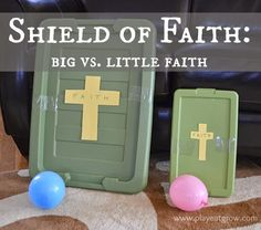 {The Armor of God Series}: Shield of Faith - Play Eat Grow Preschool Bible Lessons, Bible Object Lessons, Bible School Crafts, Bible Lessons For Kids, Sunday School Crafts, Sunday School Games, Bible Activities, Teen Sunday School Lessons, Kids Church Lessons