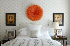 Photo by Francesco Lagnese / Design by Brian McCarthy Orange Juju Hat African wall hanging A sculptural piece of wall decor is one of the more unexpected routes to go for above the bed, which is why it's the most likely to feel fresh and playful. Bedroom Decor, Wall Decor, Master Bedroom, Above Bed, Farmhouse Interior, Cool Rooms, Home Improvement Projects, 3 D, Interior Design