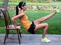 Chair workout: triceps dip exercise