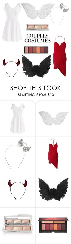 """""""Couples Costumes: Angel and Devil"""" by moriah-fashion ❤ liked on Polyvore featuring Chicwish, Hourglass Cosmetics and Smashbox"""