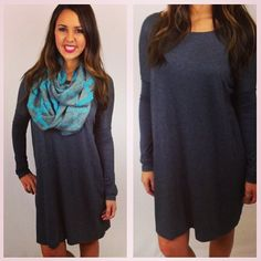 Amazing comfy fall tunic dress with our first knit infinity scarves of the season.