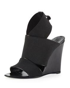 Elastic Wedge Sandal, Black by Balenciaga at Bergdorf Goodman. YES!!!!!!!!!!!!!!!!!