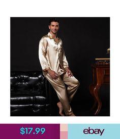 c21d00ed9d Sleepwear   Robes Nwt 2Pcs Mens Silk Satin Pajamas Sleepwear Pyjamas Pjs  Long Sleeve M009 M L  ebay  Fashion