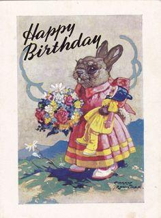 Rare Vintage Birthday Card With Artwork By Harry Rountree Anthropomorphic Rabbit