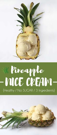 Healthy Pineapple Banana Icecream - Veganes Bananen Ananas Eis Fast Food Nutrition, Banana Ice Cream, Nice Cream, Nutritional Value, Pineapple, Vegan Recipes, Sugar, Fruit, Vegetables