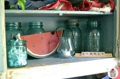 Aqua Mason Jars {Decorating}