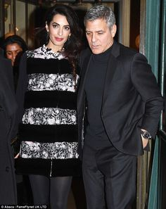 Finishing touches: Adding a hint of vibrancy to an already striking look, Amal, 39, opted ...