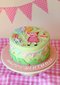 Single Tier Mint Green Peppa Pig Cake with Bunting Baby Cakes, Girl Cakes, Fondant Cakes, Cupcake Cakes, Buttercream Cake, Tortas Peppa Pig, Peppa Pig Birthday Cake, Character Cakes, Creative Cakes