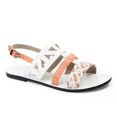 Florence sandal in White & Orange Florence, Leather Sandals, Journey, Orange, Shoes, Women, Fashion, Moda, Zapatos