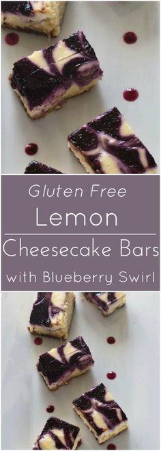 Lemon Cheesecake Blueberry Swirl Bars with a gluten free gingersnap crust.
