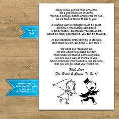 Wedding Cash Money Voucher Request Poems For Invites Cheap & Funny RG2 Design
