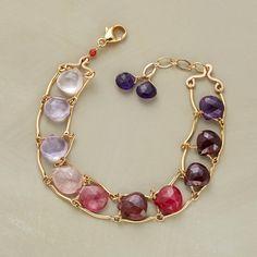 Thoi Vo captures briolettes of pink amethyst and rose quartz, pink tourmaline, ruby, garnet and amethyst between 14kt goldfilled laddered links.