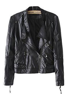 QZUnique Women's Faux Leather Zipper Motorcycle Bomber Biker Outwear Jacket Black US 4-6
