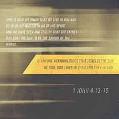 """""""Hereby know we that we dwell in him, and he in us, because he hath given us of his Spirit. And we have seen and do testify that the Father sent the Son to be the Saviour of the world. Whosoever shall confess that Jesus is the Son of God, God dwelleth in him, and he in God."""" 1 John 4:13-15 KJV"""