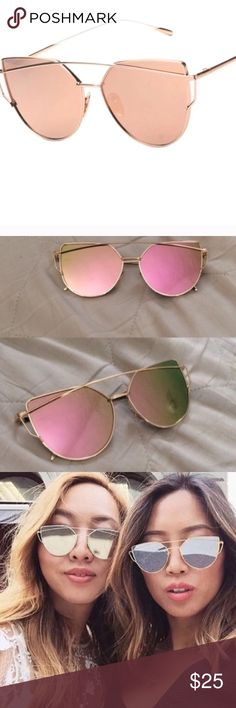 Rose Gold Mirrored Sunglasses These are the trendiest glasses of the summer with their oversize frames and cute rosey pink reflective lenses. Accessories Glasses