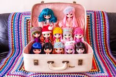 https://flic.kr/p/dtVcbk | My Blythe family :) | They just about fit in this beautiful vintage suitcase that belonged to my Mum. I'm on a Blythe ban now - well at least until the end of the year :)