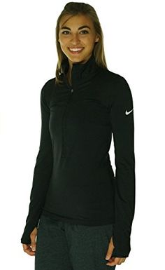 Nike Women's Dri-Fit Pro Hyperwarm Half Zip Training Shirt Black Small *** Check this awesome image @