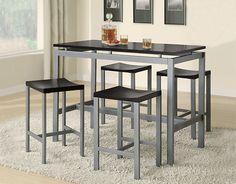 Coaster 150095 Atlas Contemporary 5 PC Counter Height Set Table Black Silver New | $459.00