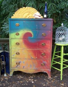 Simple Home Decor Good idea! It adds color to your room with a hippie vibe.Simple Home Decor Good idea! It adds color to your room with a hippie vibe Funky Furniture, Furniture Makeover, Painted Furniture, Painted Armoire, Painted Chest, Black Furniture, Antique Furniture, Hippie House, Hippy Room