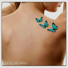 Temporary Tattoo 3D Butterflies Fake Tattoo Flying Butterfly Thin Durable Realistic by UnrealInkShop on Etsy https://www.etsy.com/listing/232073399/temporary-tattoo-3d-butterflies-fake