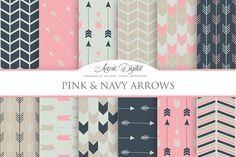 Pink and Navy Arrows Digital Paper ~ Patterns on Creative Market