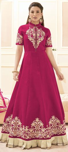 491820: Pink and Majenta  color family  semi-stiched Anarkali Suits .