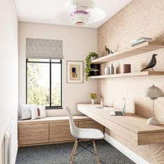 Home Office Layouts, Home Office Space, Home Office Decor, Home Decor, Office Desks For Home, Spare Room Office, Modern Office Decor, Small Office, Office Interior Design