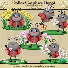 Ladybugs and Spring Flowers