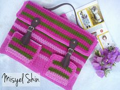 Crochet laptop bag                                                       … Crochet Laptop Case, Crochet Pencil Case, Cute Crafts, Crafts To Do, Crochet Baby, Knit Crochet, Laptop Covers, Crochet Purses, Crochet Accessories