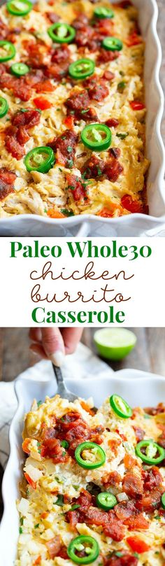 This chicken burrito casserole is packed with savory shredded chicken, a flavorful creamy dairy-free cashew cheese sauce, cauliflower rice, salsa, and peppers and onions. It's simple, so satisfying, and so delicious it's addicting! Paleo, Whole30 friendly and keto.
