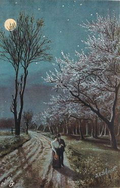 moonlit scene, couple spoon on road, blossom to right of card