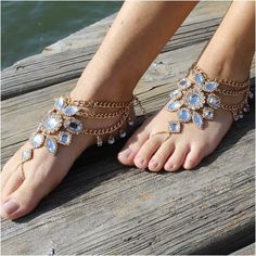"""GYPSY SOLE barefoot sandals - gold   wedding, foot jewelry, beach wedding, bridal """"PIN this pretty for later!'"""