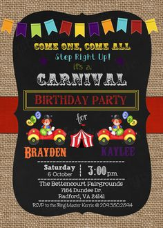 Carnival/Circus Joint Birthday Party by DigitalStudioDesigns Sibling Birthday Parties, 1st Birthday Boy Themes, Joint Birthday Parties, Carnival Birthday Parties, Fall Birthday, Circus Birthday, 1st Boy Birthday, Birthday Ideas, Clown Party