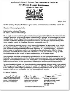 The Five Nations Iroquois Confederacy letter asking for the release of Captain Paul Watson