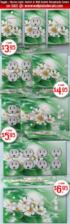 DIY Do It Yourself Home Decor - Easy to apply wall plate wraps | Swimming Daisies Green water and white flowers wallplate skin stickers for single, double, triple and quadruple Toggle and Decora Light Switches, Wall Socket Duplex Receptacles, and blank decals without inside cuts for special outlets | On SALE now only $3.95 - $6.95