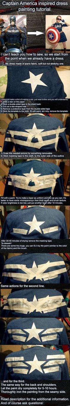 Very easy fabric painting tutorial. by ~AcidDaisy on deviantART Captian America DIY dress. I think I already pinned this, but just in case.