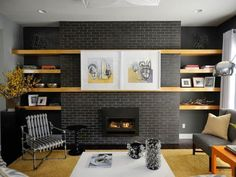 Best Painted Brick Walls...love dark charcoal and all the whitewash