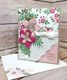 Create with Gwen, Stampin' Up! Botanical Blooms, Independent Demonstrator, Gwen Edelman, Create with Gwen: Drapery Look Fun Fold! Hand Made Greeting Cards, Greeting Cards Handmade, Fancy Fold Cards, Folded Cards, Happy Birthday, Birthday Cards, Scrapbooking Photo, Hand Stamped Cards, Stamping Up Cards